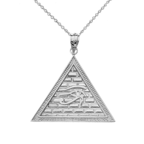 Egyptian Pyramid with Eye of Horus Pendant Necklace in Sterling Silver