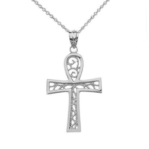 Filigree Ankh Cross Pendant Necklace in Sterling Silver