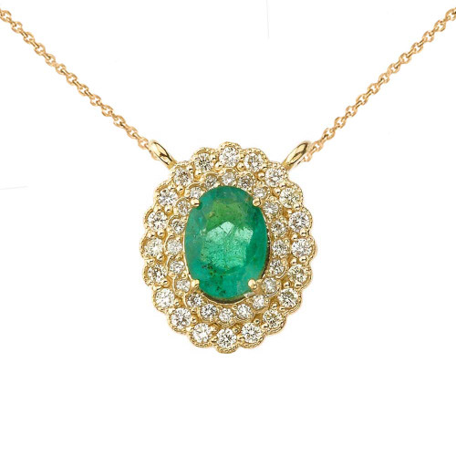 Genuine Emerald & Diamond Necklace in 14K Yellow Gold