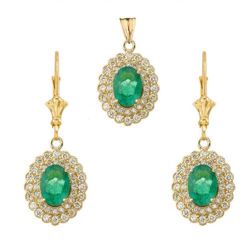 Genuine Emerald & Diamond Pendant Necklace Set in Yellow Gold