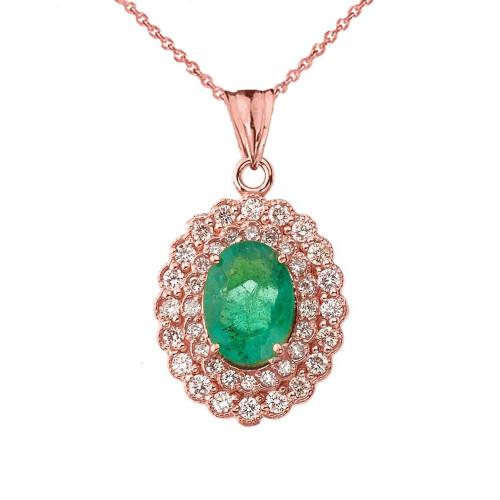 Genuine Emerald & Diamond Pendant Necklace in Rose Gold