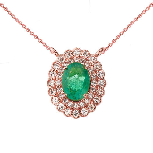 Genuine Emerald & Diamond Necklace in 14K Rose Gold