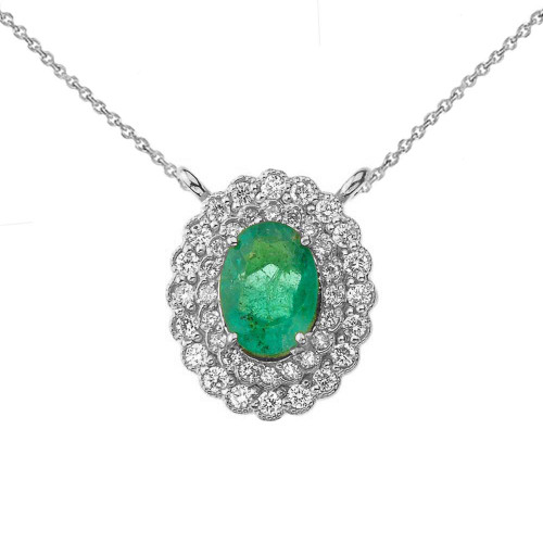 Genuine Emerald & Diamond Necklace in 14K White Gold