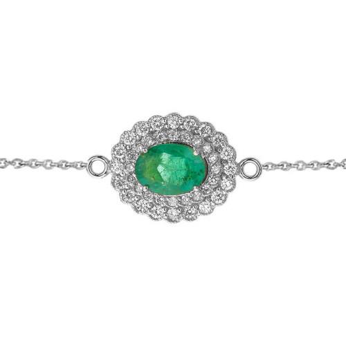 Genuine Emerald & Diamond Bracelet in White Gold