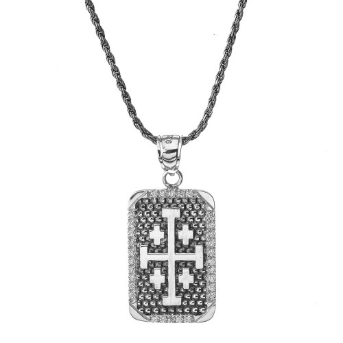 Vintage Antique Jerusalem Cross Dog Tag in Sterling Silver