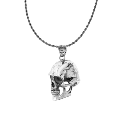 Sideways Skull Pendant Necklace in Sterling Silver