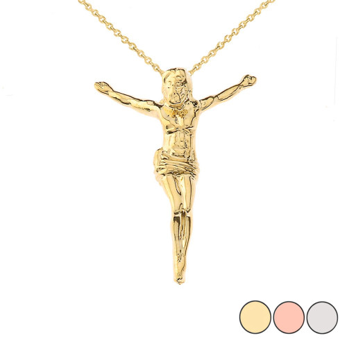 """Jesus Body Crucifix Pendant Necklace With Hidden Bail in Gold (Yellow/Rose/White) (1.45"""")"""