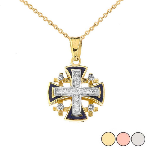 10K Diamond Jerusalem Cross Pendant Necklace with Blue Enamel in Gold (Yellow/Rose/White)