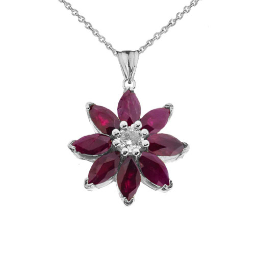 Genuine Ruby and Diamond Daisy Pendant Necklace In White Gold
