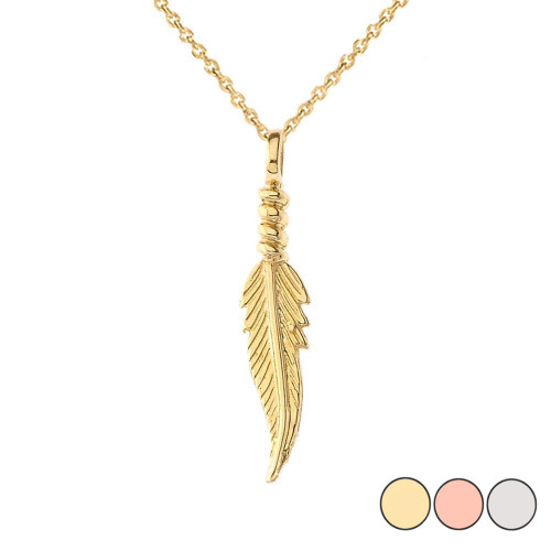Dainty Feather Pendant Necklace in Gold (Yellow/Rose/White)