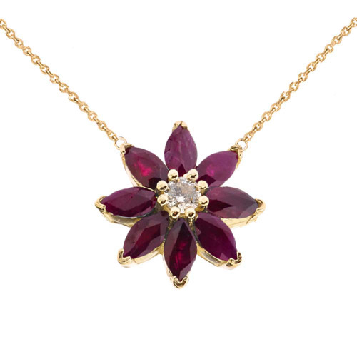 Genuine Ruby and Diamond Daisy  Necklace In 14K Yellow Gold