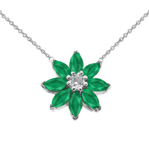 Emerald and Diamond Daisy  Necklace In 14K White Gold