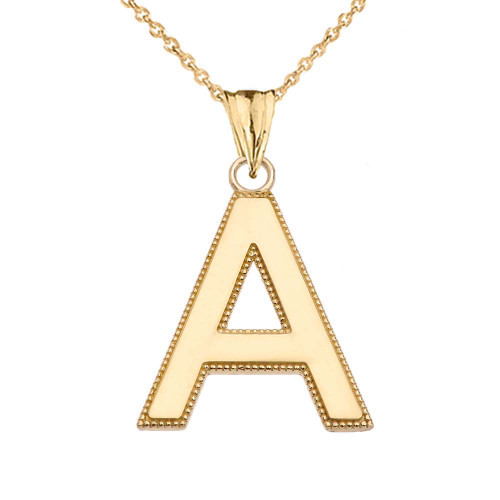 Personalized Yellow Gold  Milgrain  Initial  Pendant Necklace