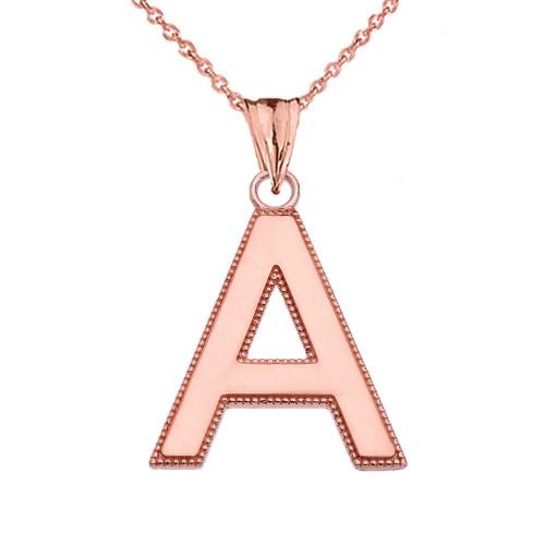 Personalized Rose Gold  Milgrain  Initial  Pendant Necklace