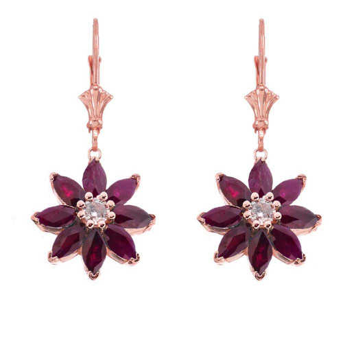 Genuine Ruby  and Diamond Daisy Leverback Earrings In 14K Rose Gold