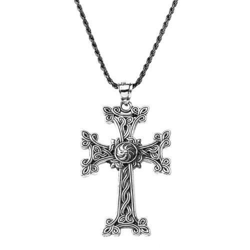 "Oxidized Sterling Silver Eternity ""Khachkar"" Armenian Cross Pendant Necklace (Large)"