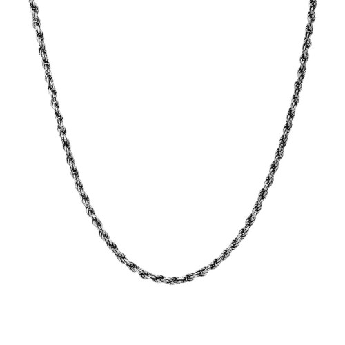 Sterling Silver Antique Vintage Style Classic Black Rope Chain (1.00mm)