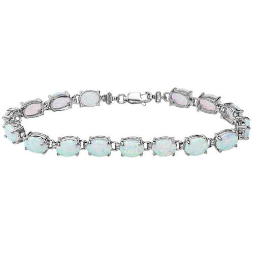 Oval Opal (8 x 6) Tennis Bracelet in Sterling Silver