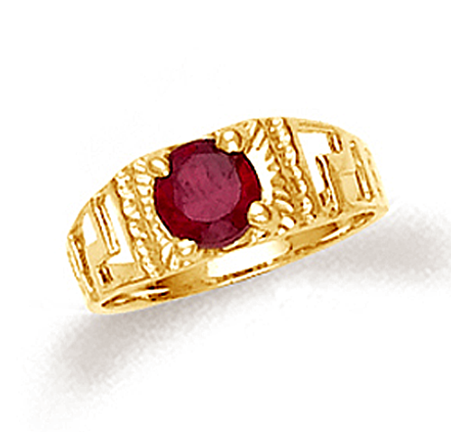 Gold Greek key baby boy ring with ruby red cubic zirconia.