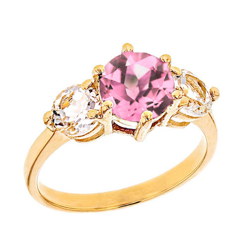 Yellow Gold Pink CZ and White Topaz Engagement/Promise Ring