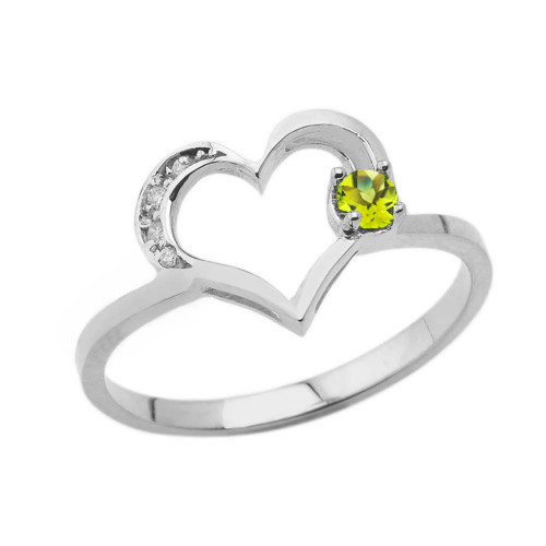 August Birthstone Peridot and Diamond Heart Ring In White Gold
