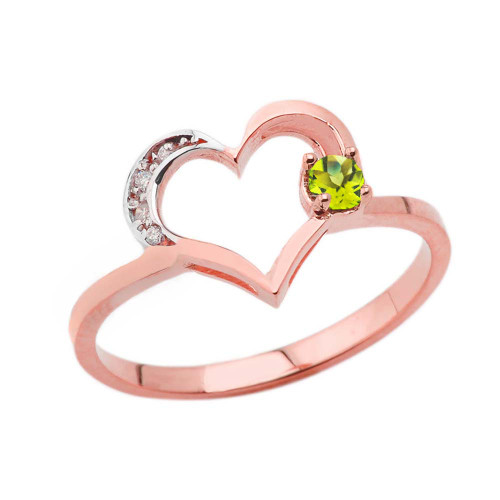 August Birthstone Peridot and Diamond Heart Ring In Rose Gold
