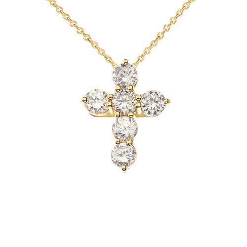 Yellow Gold Cross Elegant Pendant Necklace (Mini-Small)