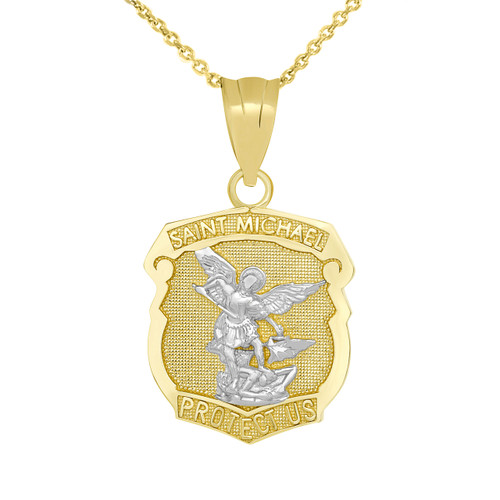 Saint Michael Protect Us Shield Pendant Necklace in Two Tone Yellow Gold