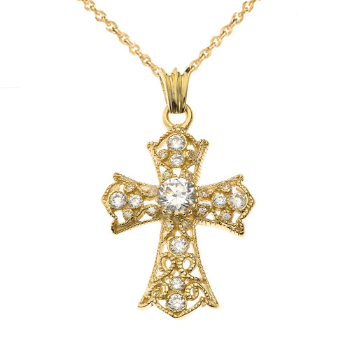 CZ Filigree Cross Pendant Necklace in Gold Yellow/Rose/White