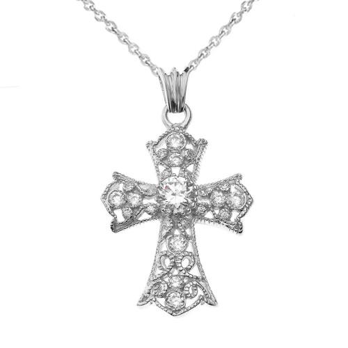 CZ Filigree Cross Pendant Necklace in White Gold