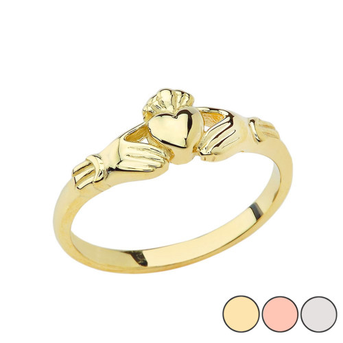 Traditional Claddagh Ring in Gold Yellow/Rose/White