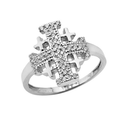 CZ Jerusalem Cross Ring in White Gold