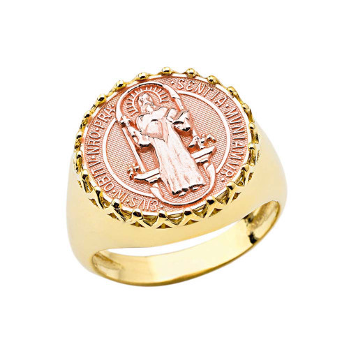 Men's Saint Benedict Ring in Yellow and Rose Gold