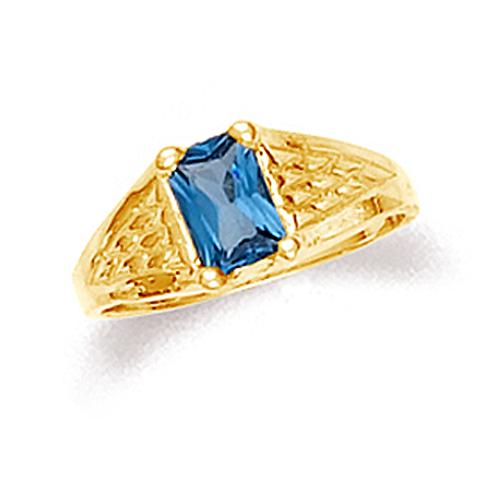 Gold blue topaz baby boy ring in 10k or 14k gold.