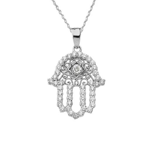 Chic CZ Hamsa Pendant Necklace in Sterling Silver
