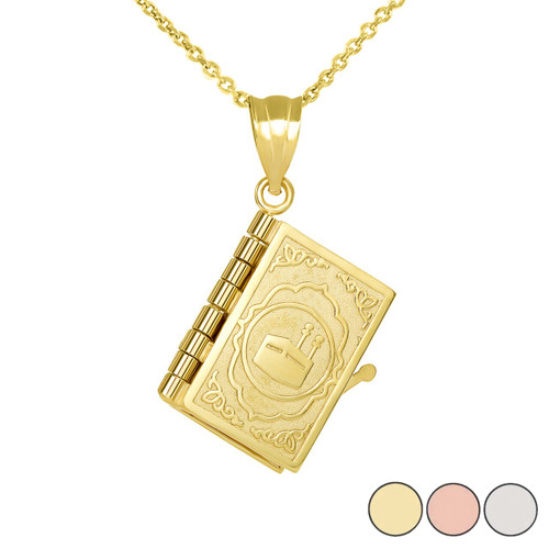 3D Moveable Koran Pendant Necklace in Gold (Yellow/Rose/White)