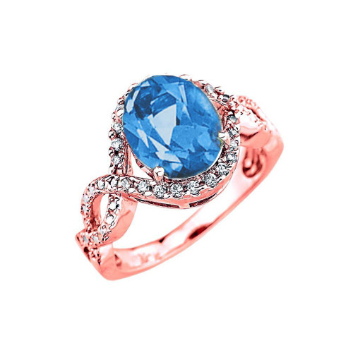 Rose Gold Blue Topaz and Diamond Infinity Engagement Ring