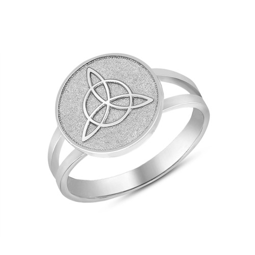 Celtic Trinity Knot Design Disc Ring in White Gold