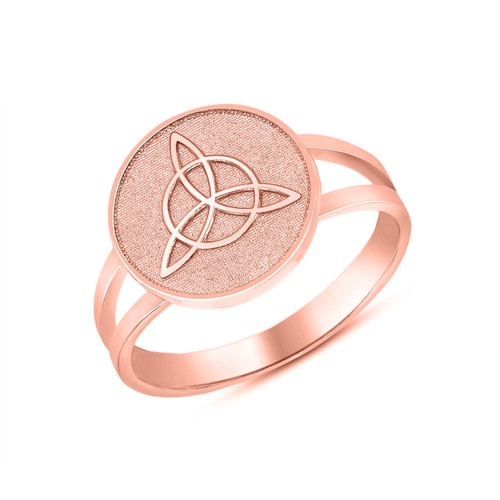 Celtic Trinity Knot Design Disc Ring in Rose Gold