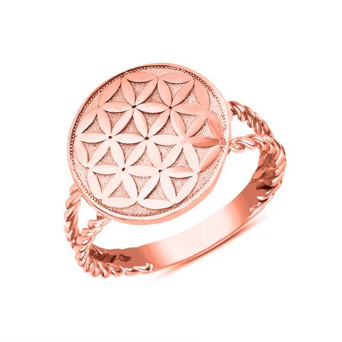 Split Shank Flower of Life Design Disc Rope Ring in Rose Gold