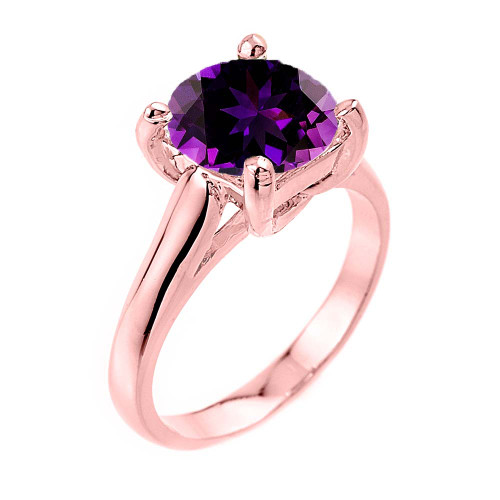 Solitaire 5ct (9.5 mm) Amethyst Birthstone  Engagement +/Promise Ring In Rose  Gold