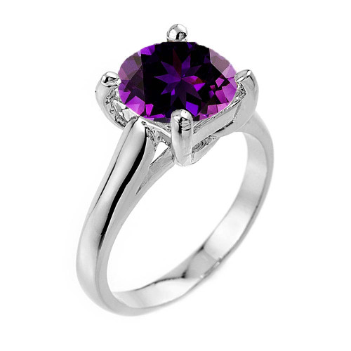 Solitaire 5ct (9.5 mm) Amethyst  Birthstone  Engagement +/Promise Ring In  Sterling Silver