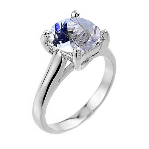 Solitaire 5ct (9.5 mm) Aquamarine  Birthstone  Engagement +/Promise Ring In  Sterling Silver