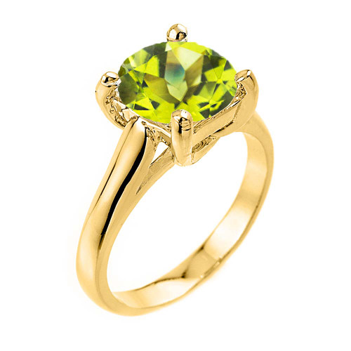 Solitaire  5ct (9.5 mm) Peridot Birthstone  Engagement +/Promise Ring In Yellow Gold