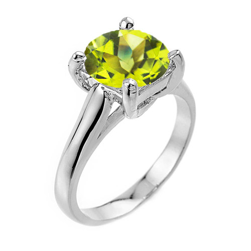 Solitaire 5ct (9.5 m) Peridot Birthstone  Engagement +/Promise Ring In  Sterling Silver