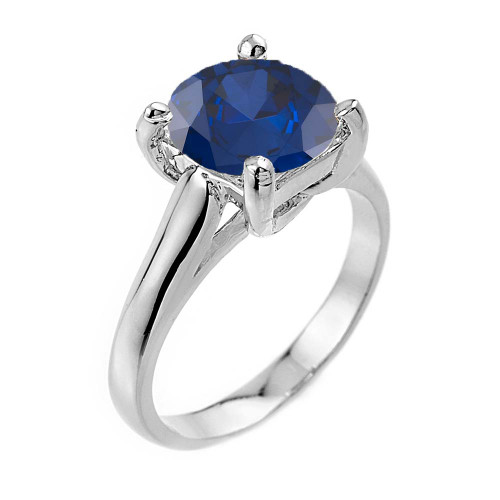 Solitaire  5ct (9.5 mm) Sapphire Birthstone  Engagement +/Promise Ring In White Gold