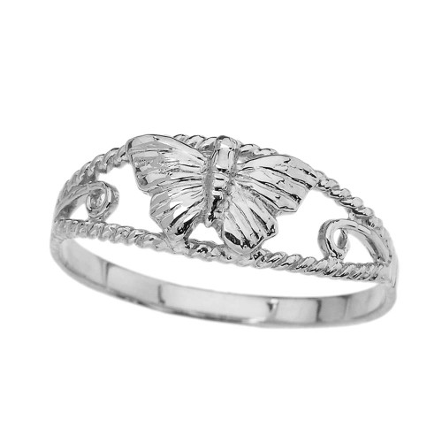 Dainty Butterfly Ring in White Gold