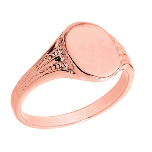 Solid Rose Gold Oval Engravable Signet Ring