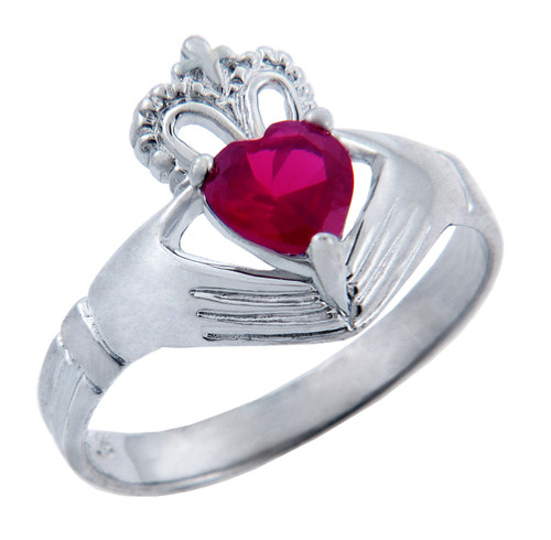 Silver Claddagh Ring with Ruby Birthstone.