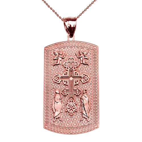 Russian Orthodox Cross Rose Gold Engraveable Dog Tag Pendant Necklace